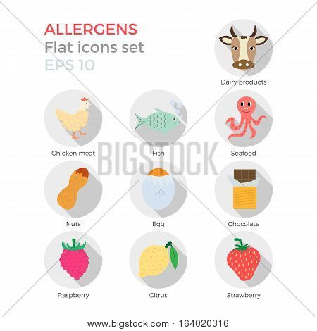 Allergens flat design icons set on white background. Vector illustration of food ingridients, that may cause allergy. Round icons with long shadows.