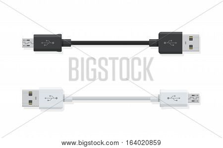 USB Micro cables isolated on white background. Connectors and sockets for PC and mobile devices.