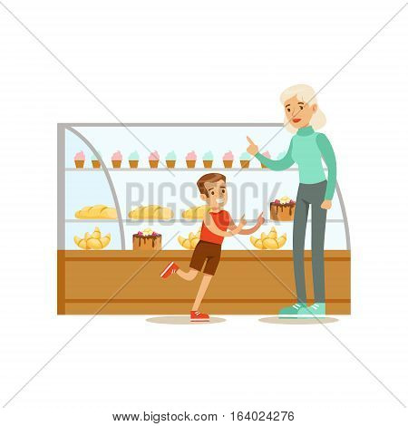 Kid And His Grandma Choosing Pastry To Buy From The Bakery Shop Assortment Vector Illustration. Happy Cartoon Character At The Cafe Flat Drawing From Coffee And Pastry Shop Series.