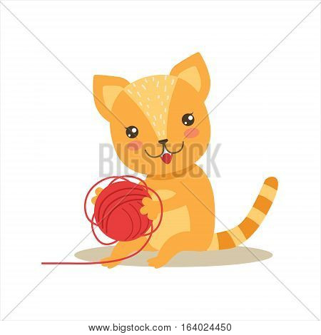 Red Little Girly Cute Kitten Playing With Clew Ball, Cartoon Pet Character Life Situation Illustration. Cat Humanized Baby Animal And Its Activity Emoji Flat Vector Drawing