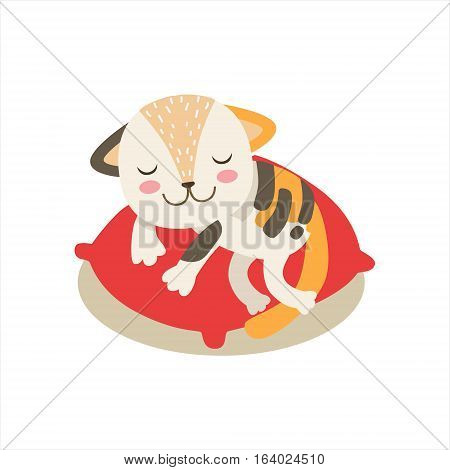 Multicolor Little Girly Cute Kitten Sleeping On A Pillow, Cartoon Pet Character Life Situation Illustration. Cat Humanized Baby Animal And Its Activity Emoji Flat Vector Drawing