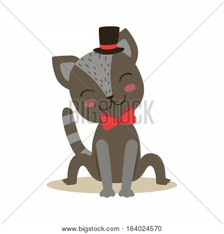 Black Little Girly Cute Kitten Wearing Top Hat And Bow Tie, Cartoon Pet Character Life Situation Illustration. Cat Humanized Baby Animal And Its Activity Emoji Flat Vector Drawing