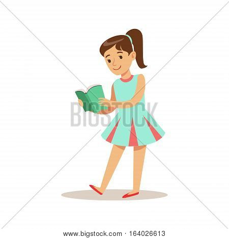 GirlIn Blue Dress Who Loves To Read, Illustration With Kid Enjoying Reading An Open Book. Teenager Bookworm Cartoon Vector Character Smiling And Enjoying His Pastime And Hobby.