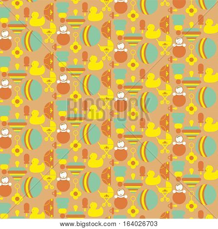vector vintage background for children with toys