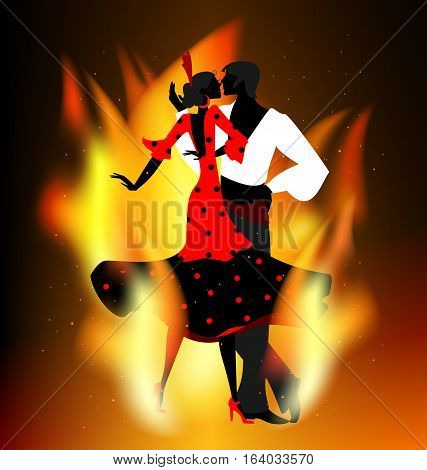 dark background with flame and abstract dancing flamenco couple in red-black