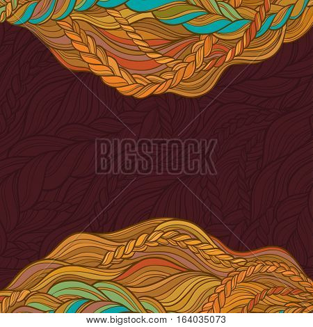 braid hair vector pattern on color background
