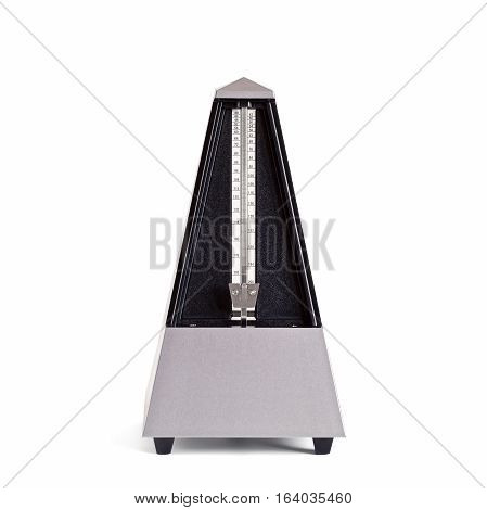 Stopped pyramid shaped metronome in plastic housing isolated on white