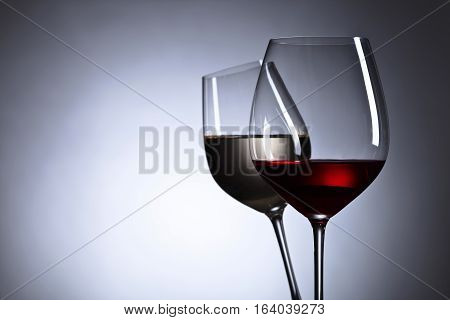 Glasses With Red And White Wine,free Space For Your Text