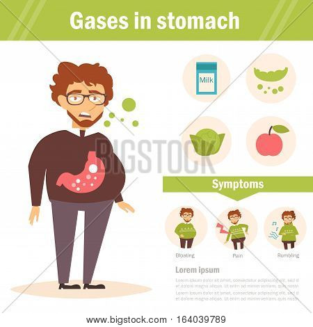Gases in stomach. Vector. Cartoon. Isolated. Flat. Illustration for websites brochures magazines Medicine