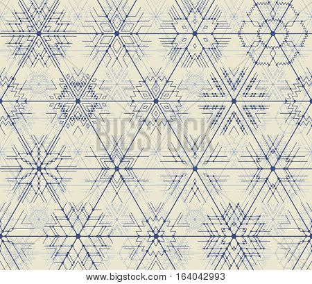 Seamless vector thin line geometric pattern of snowflakes with points at the intersections. Hipster style blue lines on a light background.