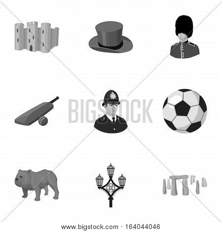England country set icons in monochrome design. Big collection of England country vector symbol stock illustration.