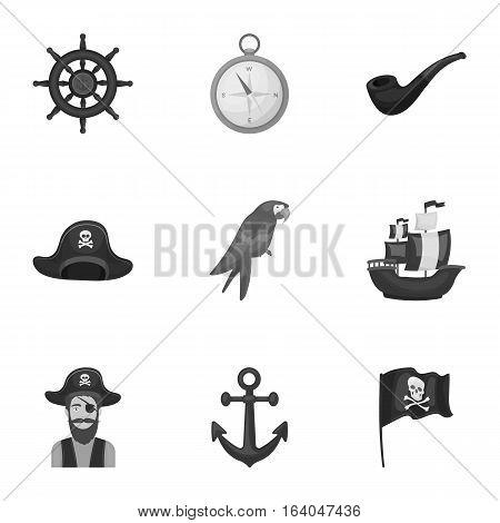Pirates set icons in monochrome design. Big collection of pirates vector symbol stock illustration