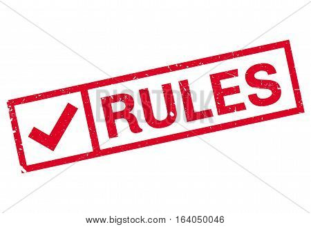 Rules stamp. Grunge design with dust scratches. Effects can be easily removed for a clean, crisp look. Color is easily changed.