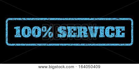 Light Blue rubber seal stamp with 100 Percent Service text. Vector tag inside rounded rectangular banner. Grunge design and unclean texture for watermark labels. Horisontal sign on a black background.