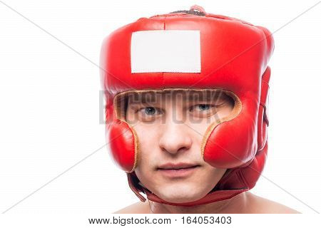 Portrait Of A Boxer In Protective Red Helmet Isolated