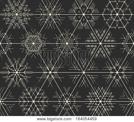 Seamless vector thin line geometric pattern of snowflakes with points at the intersections. Hipster style white lines on a black background.