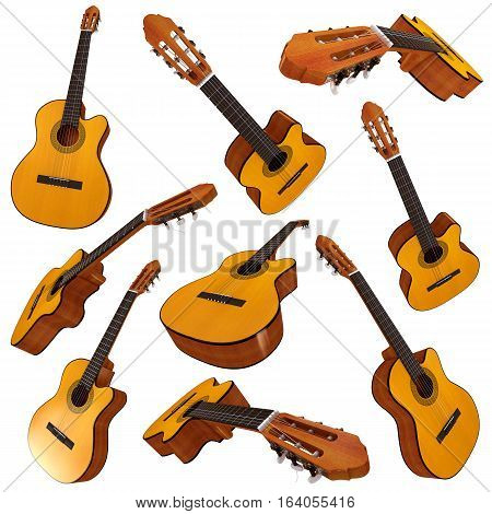 Classical acoustic guitar. Set. 3D illustration. Isolated on white background