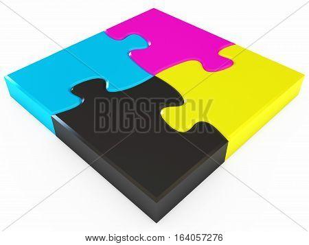 Cmyk puzzle. 3D illustration. Isolated on white background