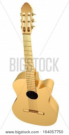 Gold Acoustic Guitar. 3D illustration. Isolated on white background