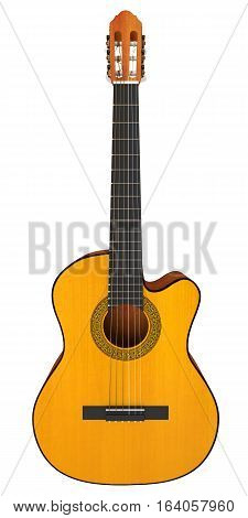 Classical acoustic guitar. 3D illustration. Isolated on white background