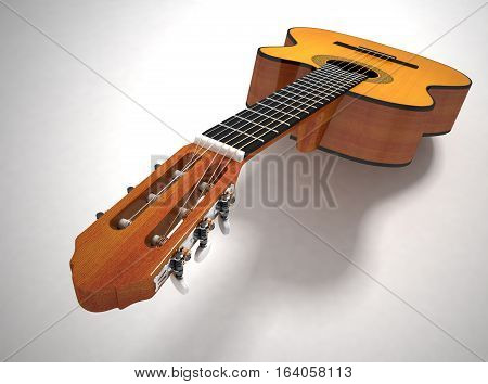 Classical acoustic guitar. 3D illustration. On white background
