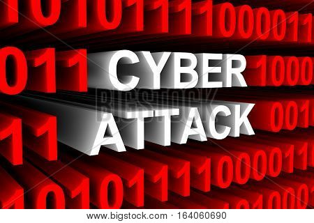 CYBER ATTACK in the form of binary code, 3D illustration