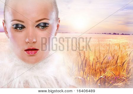 Portrait beautiful girl against backdrop golden wheat ready for harvest growing in farm field under blue sky. With brilliant detailed foreground