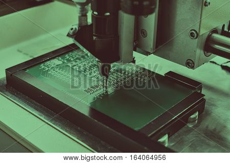 Microchip production factory. Technological process. Assembling the board.