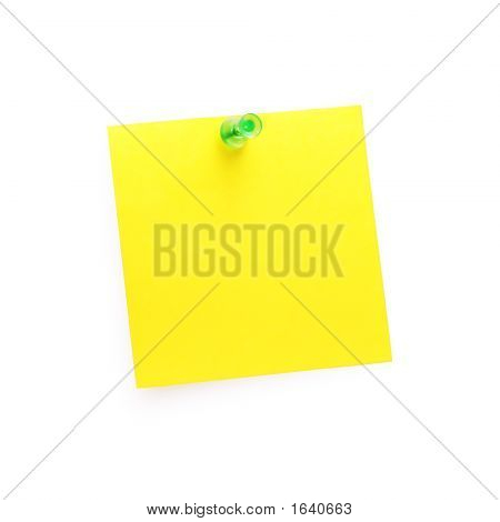 Note With Push Pin (Isolated On White)