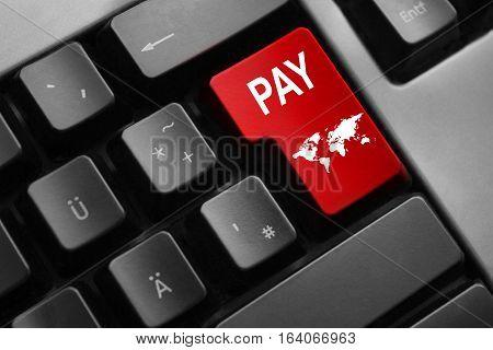 dark keyboard red button pay world symbol