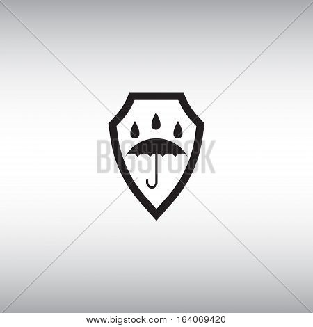 Waterproof flat vector icon. Isolated waterproof vector sign. Watertight vector illustration. Umbrella vector sign.