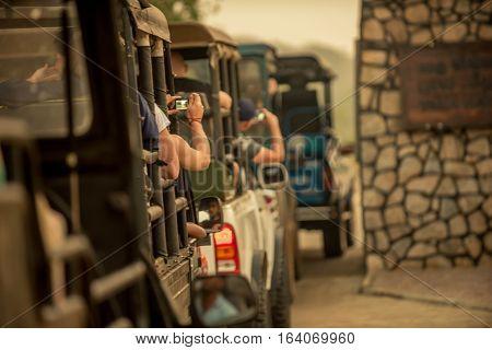 Sri Lanka: cross-country safari vehicles enter Yala National Park