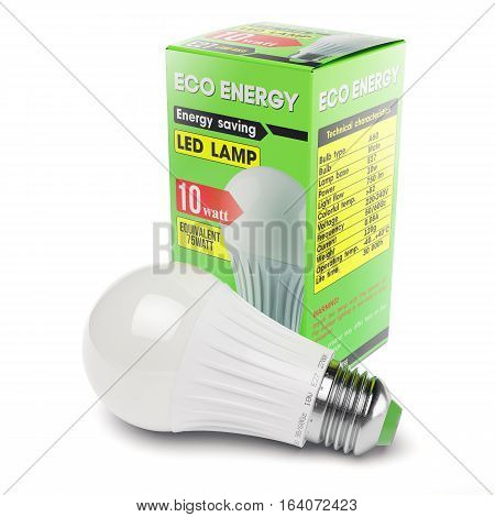 Energy savings modern LED lamp in cardboard box isolated on white background 3d.