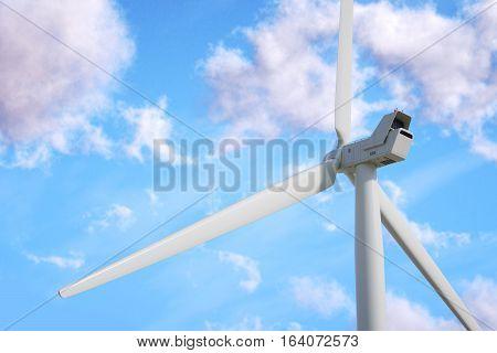 Wind turbine on sky background. 3d render