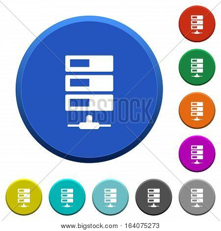 Data network round color beveled buttons with smooth surfaces and flat white icons