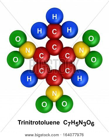3d render of molecular structure of trinitrotoluene isolated over white background Atoms are represented as spheres with color and chemical symbol coding: hydrogen(H) - blue oxygen(O) - green nitrogen(N) - yellow carbon(C) - red.