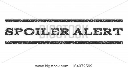Spoiler Alert watermark stamp. Text tag between horizontal parallel lines with grunge design style. Rubber seal gray stamp with unclean texture. Vector ink imprint on a white background.