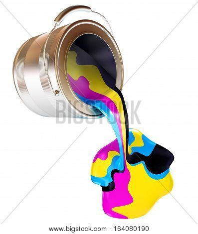 Spilled Paint Can isolated on white background (CMYK Concept). 3D illustration. 3D rendering