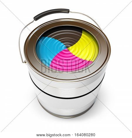 Cans of paint (CMYK Concept). Isolated on white background. 3D illustration. 3D rendering