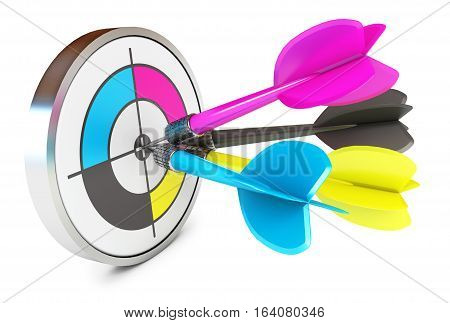 Darts hitting directly in bulls eye. CMYK. Conceptual illustration. Isolated on white background. 3D illustration. 3D rendering