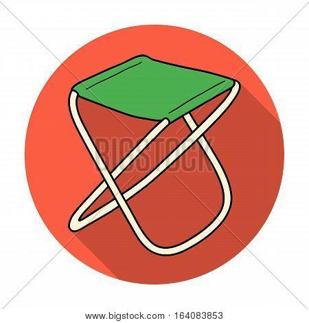 Folding stool icon in flat design isolated on white background. Fishing symbol stock vector illustration.