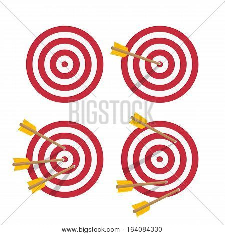 Target icons set. Arrow hitting target. Modern business concept. Vector Icon collection in flat style.