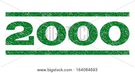 2000 watermark stamp. Text tag between horizontal parallel lines with grunge design style. Rubber seal green stamp with dust texture. Vector ink imprint on a white background.