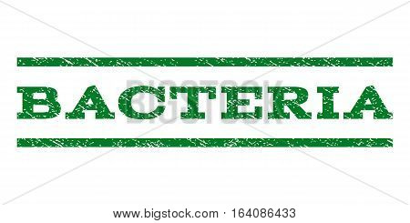 Bacteria watermark stamp. Text tag between horizontal parallel lines with grunge design style. Rubber seal green stamp with dirty texture. Vector ink imprint on a white background.