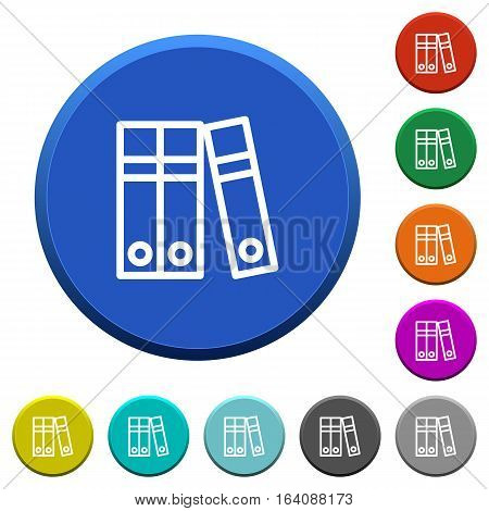 Document folders round color beveled buttons with smooth surfaces and flat white icons