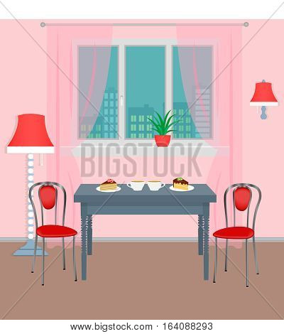 Dinner room interior with coffee and dessert on the table and cityscape outside the window. Bright flat style vector illustration.
