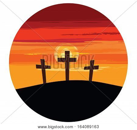 Vector illustration of three crosses on a hill silhouetted against a colorful sunset.