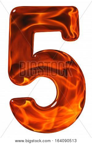 5, Five, Numeral From Glass With An Abstract Pattern Of A Flaming Fire, Isolated On White Background