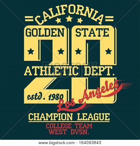 Los Angeles Athletics typography stamp, California t-shirt vector emblem graphics, vintage sport wear tee print design