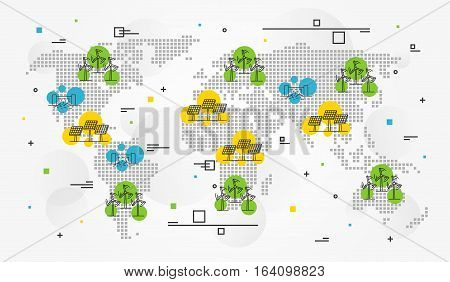 International eco energy vector illustration with decorative elements. Alternative ecological source of energy creative concept. Wind electricity sun electric station hydro electrostation elements.